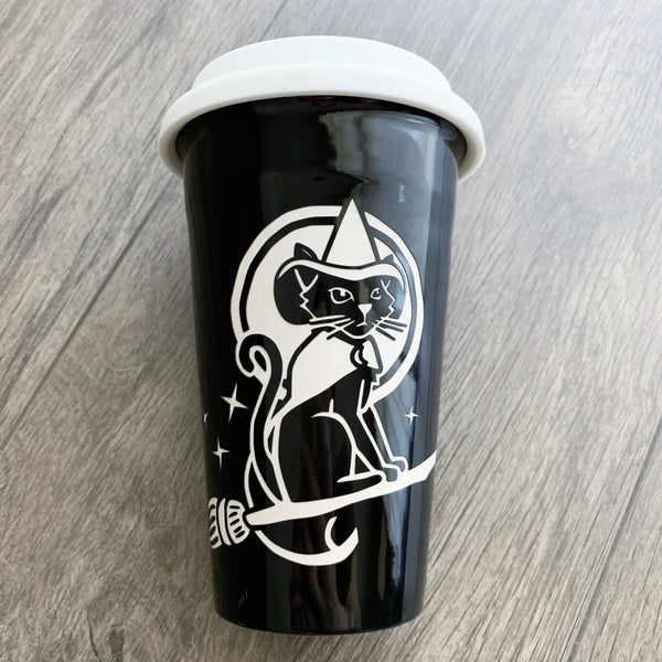 Witch Cat engraved black travel mug by Bread and Badger
