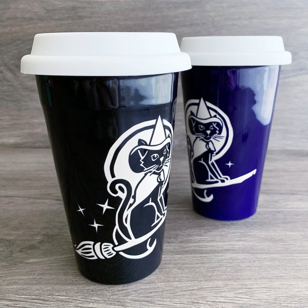 Witch Cat travel mugs by Bread and Badger