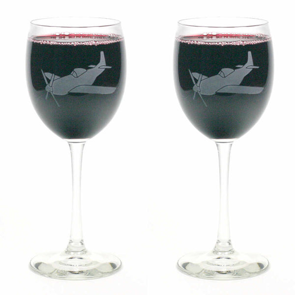 2 Airplane etched wine glasses