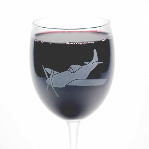 Airplane etched wine glass