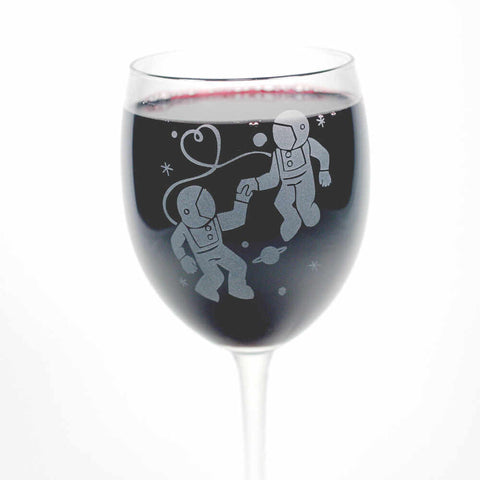 Astronaut Love etched wine glasses