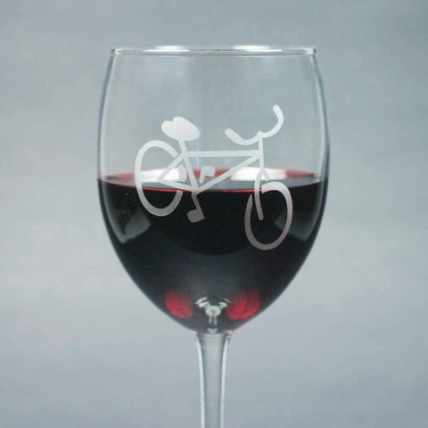 Bicycle wine glass etched