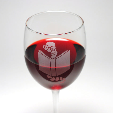 nerdy bookworm wine glass
