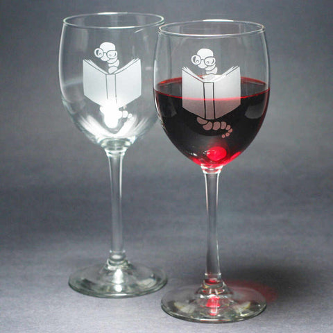 Bookworm etched wine glasses set of 2