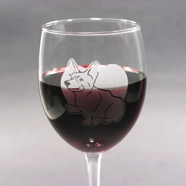 Corgi etched wine glass by Bread and Badger