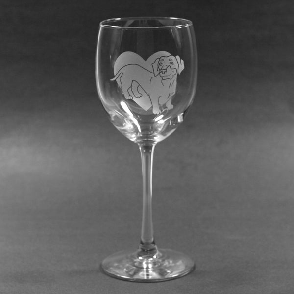 Dachshund dog wine glass by Bread and Badger
