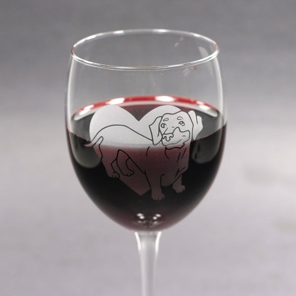 Dachshund etched wine glass by Bread and Badger