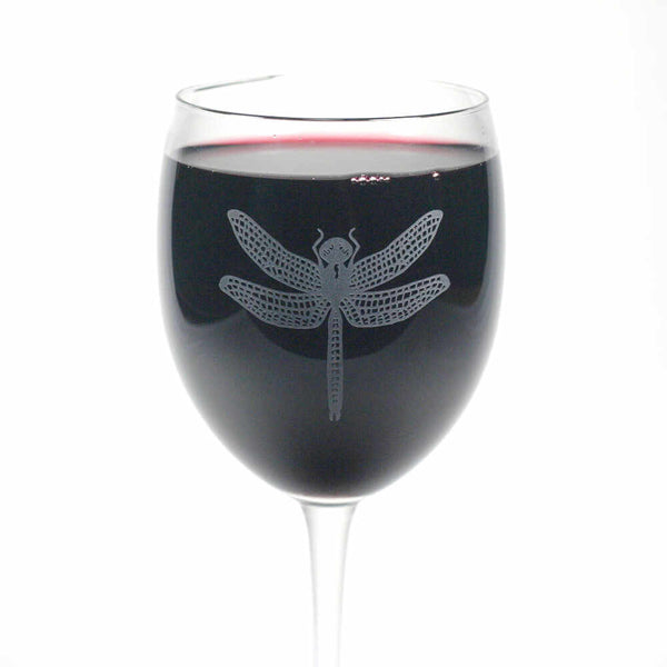 Dragonfly wine glass
