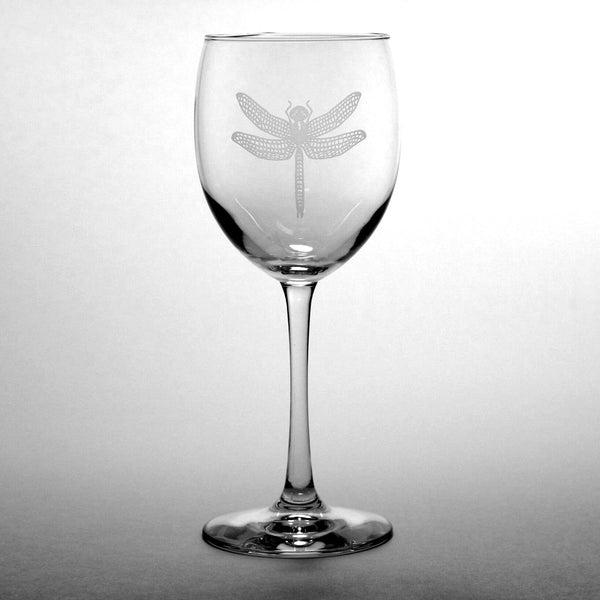 etched dragonfly large wine glass