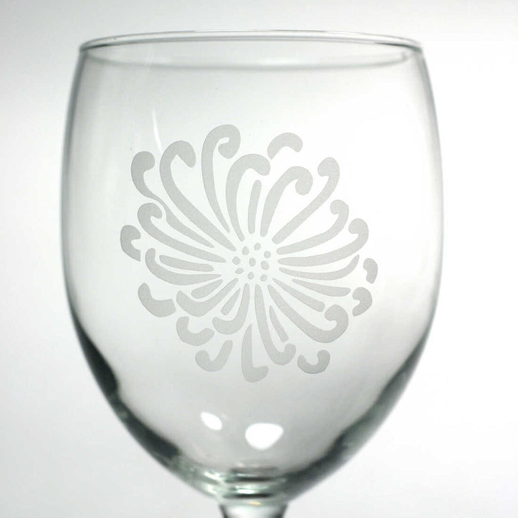 Chrysanthemum Flower wine glass by Bread and Badger