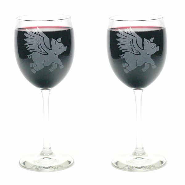 winged pig wine glass set of 2