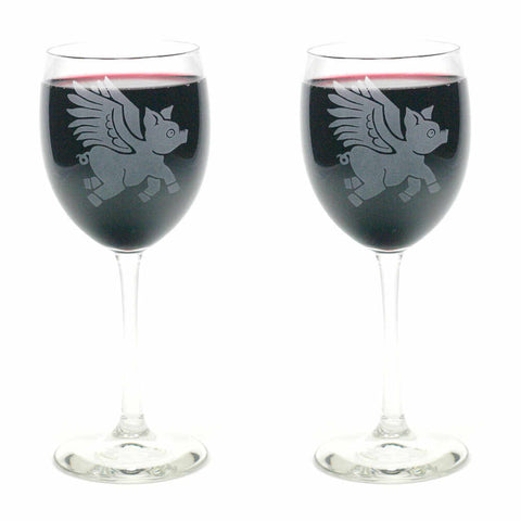 when pigs fly wine glass set of 2