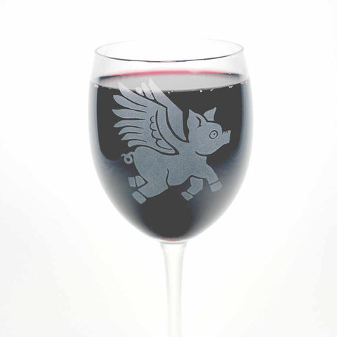 Flying Pig etched wine glass