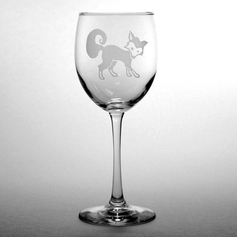 etched fox wine glass