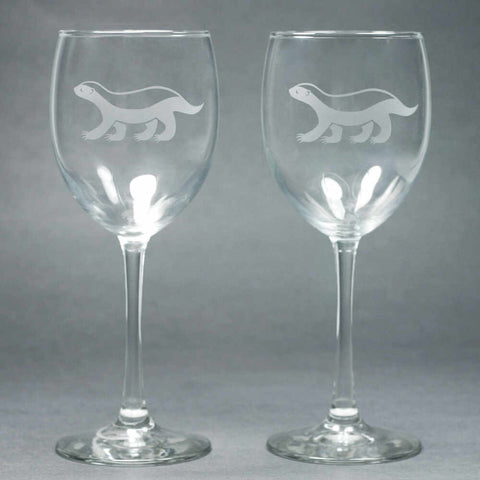 2 Honey Badger etched wine glasses