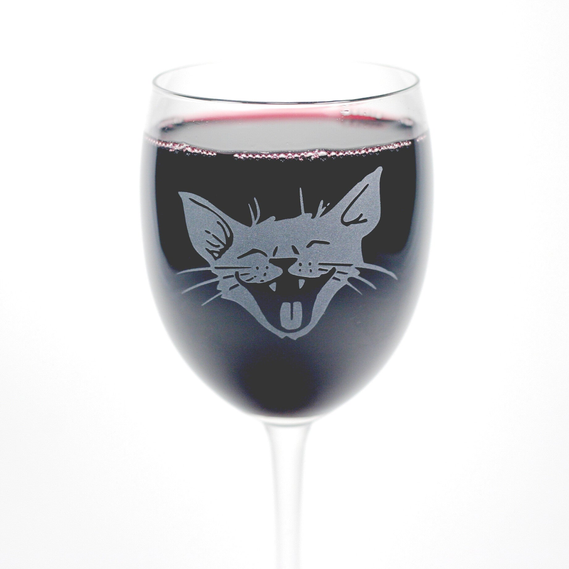 Happy Laughing Cat etched wine glass