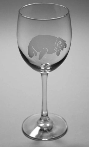 Manatee etched wine glass by Bread and Badger
