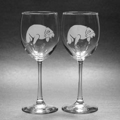 Manatee wine glass set of 2 by Bread and Badger