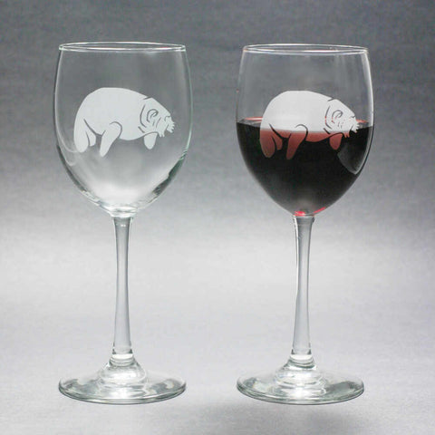 Manatee wine glasses by Bread and Badger