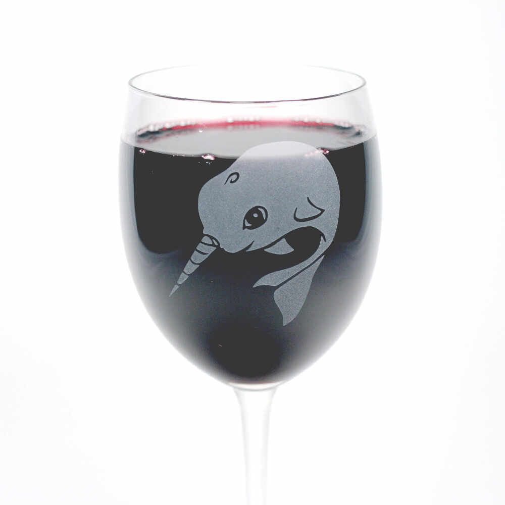 Narwhal etched wine glass