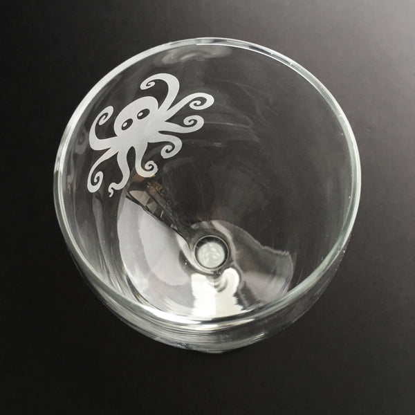 Octopus wine glass by Bread and Badger