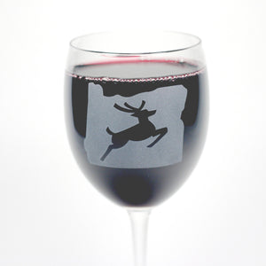 Oregon state leaping stag wine glass