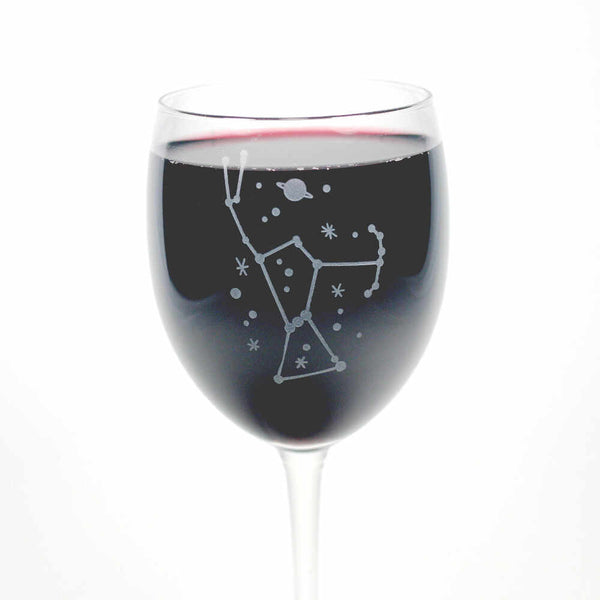 Orion constellation etched wine glass