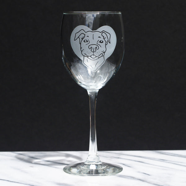 PitBull dog wine glass by Bread and Badger