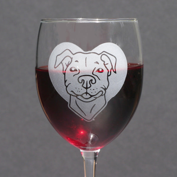 Pit Bull dog wine glass by Bread and Badger