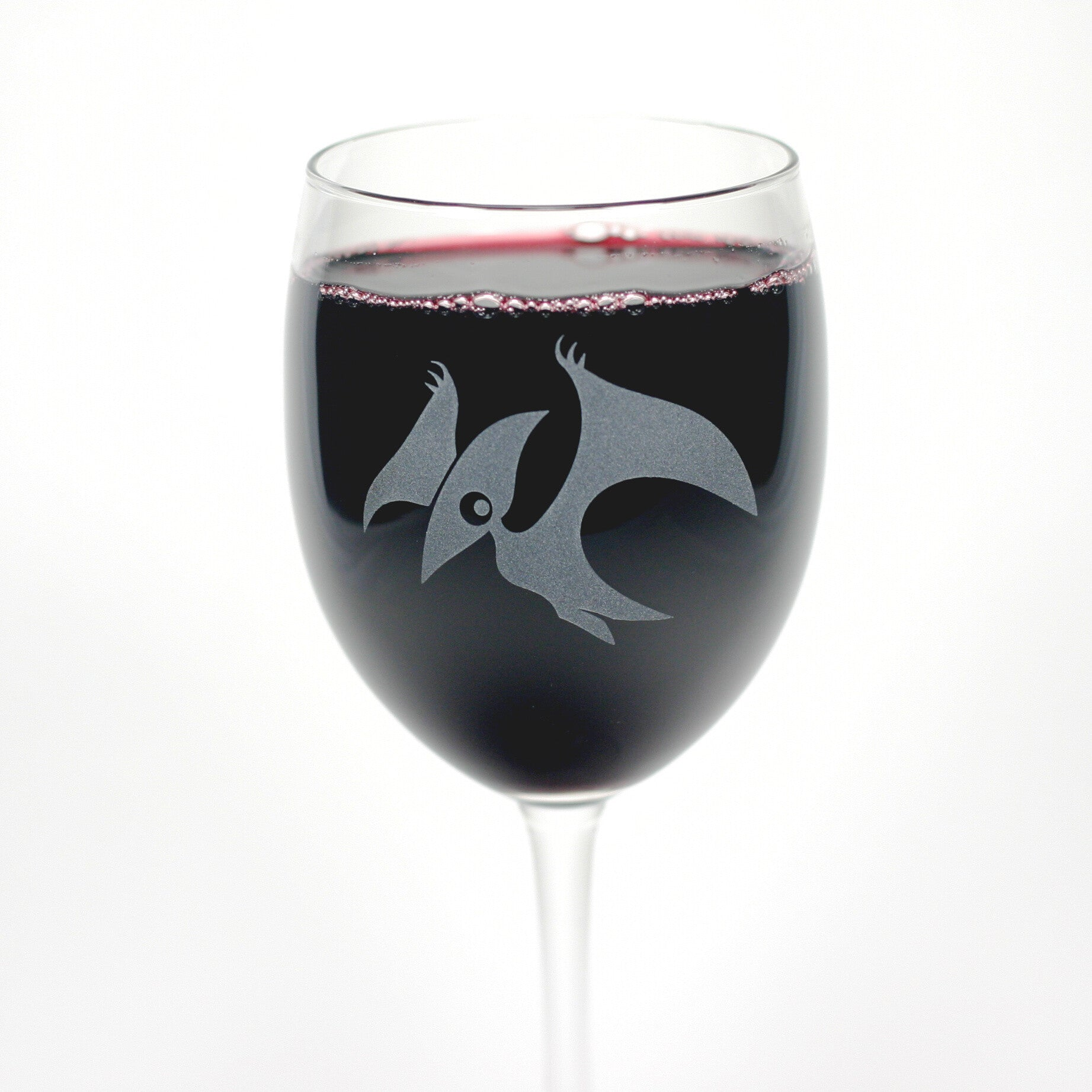 etched Pterodactyl wine glass