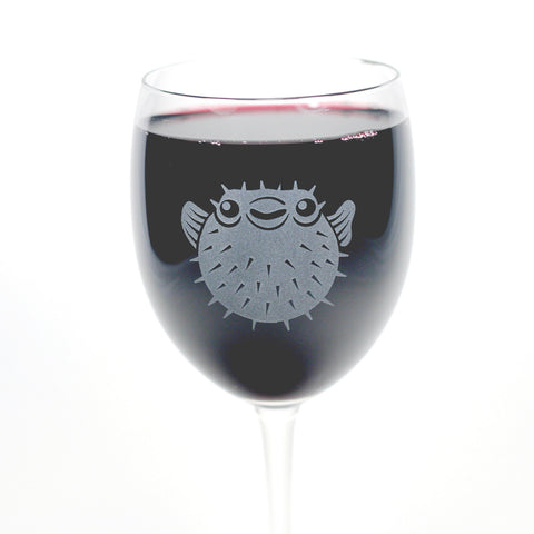 Puffer Fish wine glass