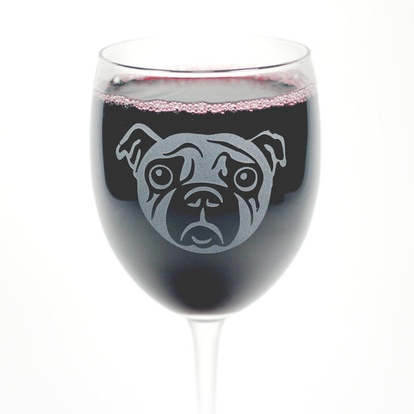 pug dog etched wine glass