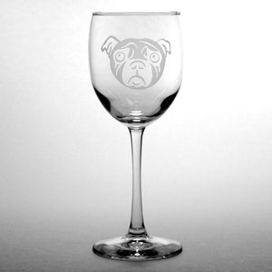pug dog 12oz wine glass