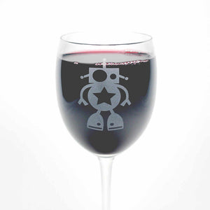 robot etched wine glass by Bread and Badger