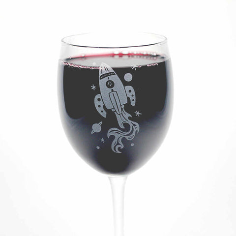 Rocket Ship Wine Glass
