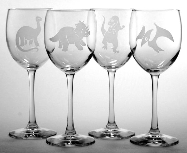 dinosaur wine glass set of 4