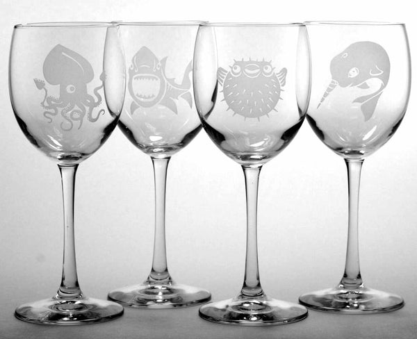 nautical wine glasses set of 4