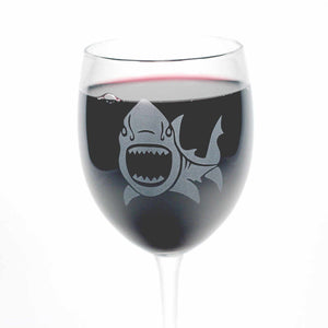 Shark etched wine glasses