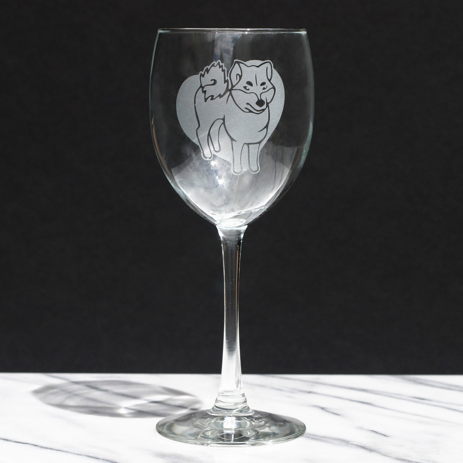 Akita Inu wine glass by Bread and Badger