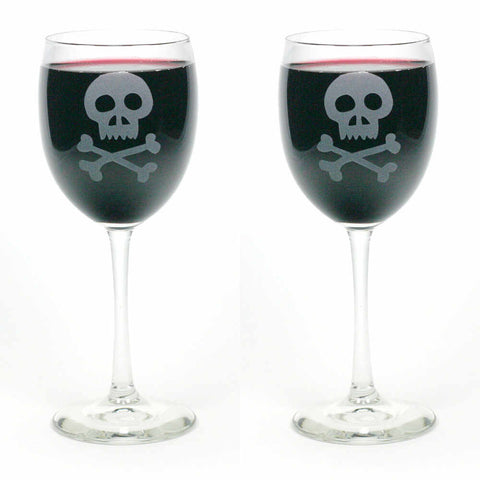2 Skull and crossbones wine glasses