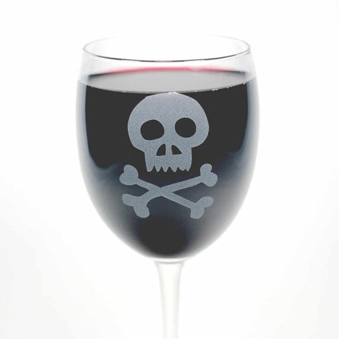 Skull and crossbones etched wine glass