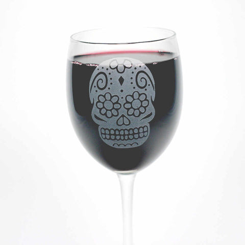 Sugar Skull Wine Glass