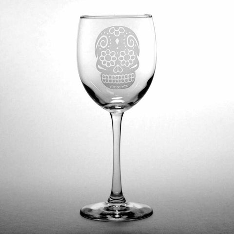 Day of the Dead skull wine glass