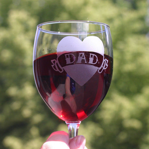DAD Tattoo Heart Wine Glass Set of 2 (Retired)