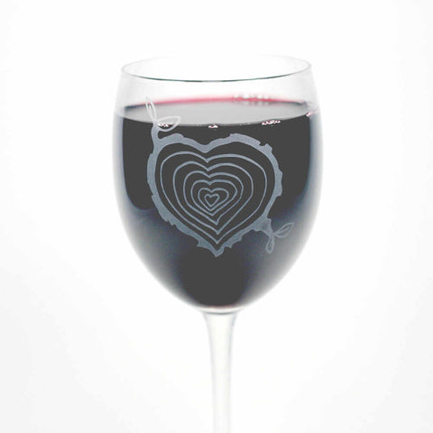 Tree Stump Heart Wine Glass