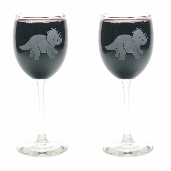 2 Triceratops dinosaur wine glasses