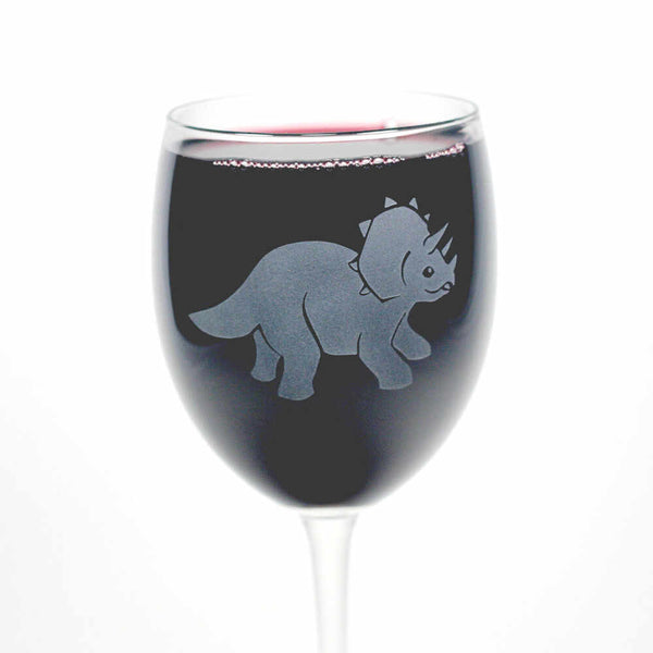 Triceratops torosaurus wine glass