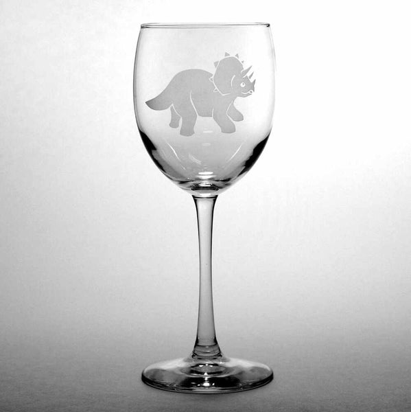 Triceratops dinosaur etched wine glass
