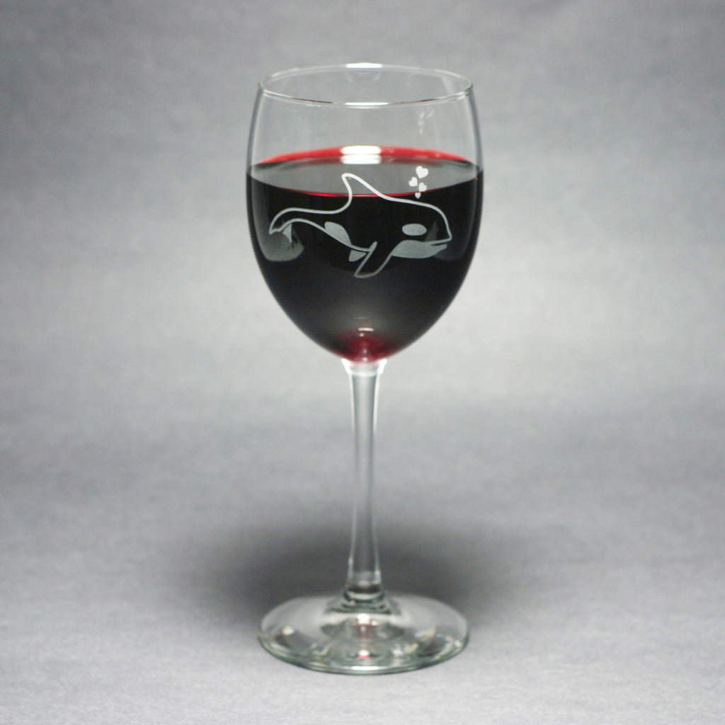Killer whale wine glass by Bread and Badger