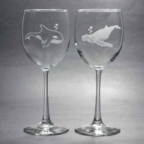 Whale Wine Glasses by Bread and Badger